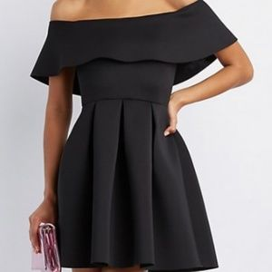 Off the Shoulder Flounce Black Cocktail Dress